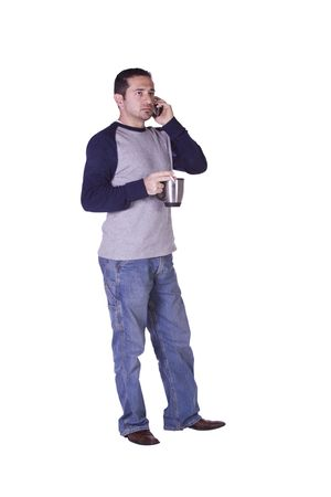 Casual Man Smoking and Drinking Coffee While Talking on the Phone - Isolated Background photo