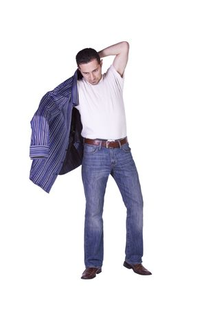 put up: Casual Man Putting His Shirt On Getting Ready - Isolated Background