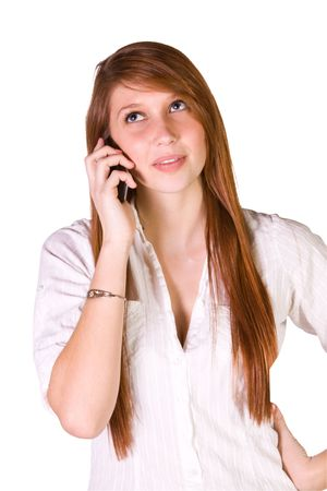 Close up Shot of a Beautiful Girl Talking on the Cell Phone - Isolated photo