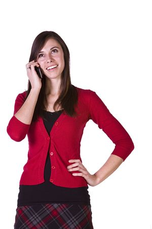 Close up Shot of a Beautiful Girl Talking on the Cell Phone - Isolated Stock Photo - 6530179