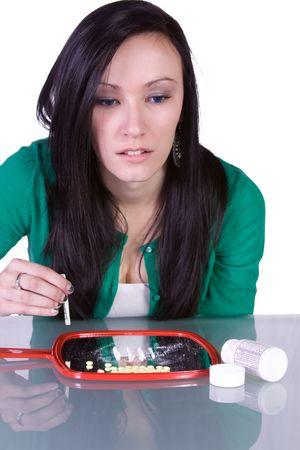Teen Girl Taking Drugs - Teenage Drug Addiction Problem Cocaine
