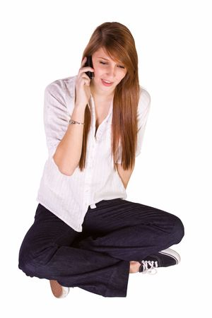 Beautiful Girl Texting on the Floor - Isolated Background photo