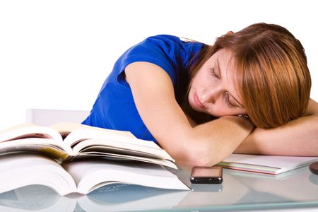 finals: College Student Falling Asleep while Studying for her Finals - Isolated Background