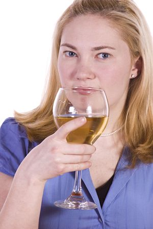 Beautiful Woman Drinking Wine Looking at the Camera photo