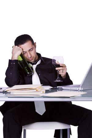 Isolated Drunk Businessman At His Desk Working And Drinking Wine - White Background Stock Photo - 6661398