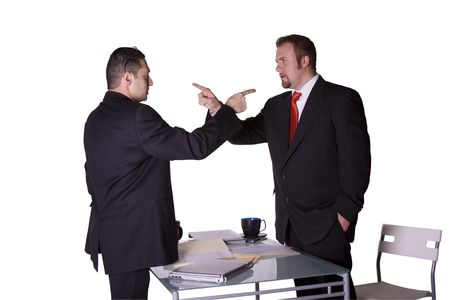 Businessmen in an Office Fighting and Pointing Fingers at Each Other - Isolated Background Standard-Bild