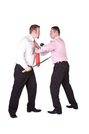 Two businessman fighting with swords - Isolated background photo