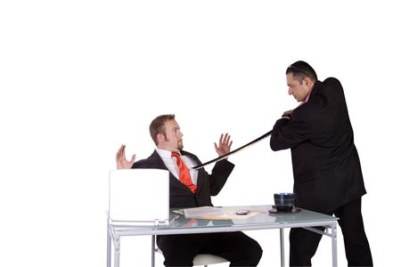 One Businessman Forcing Another to Sign A Contract - Isolated Background Stock Photo