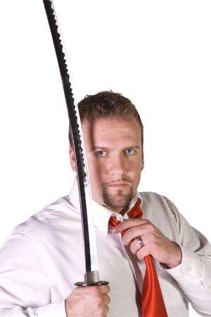 Businessman with a Sword on an Isolated Background photo