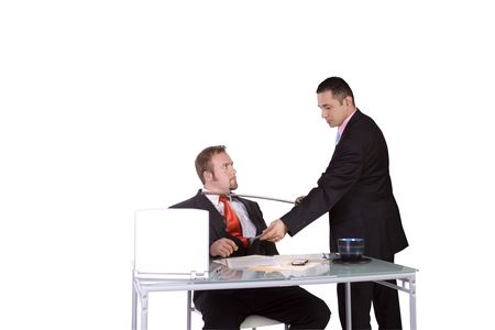 One Businessman Forcing Another to Sign A Contract - Isolated Background Stock Photo - 6802647