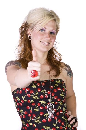 Isolated Shot of a Beautiful Girl Giving the Thumbs Up Stock Photo - 6802668