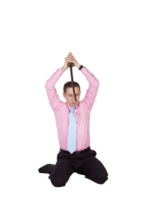 Businessman Committing Suicide with a Sword