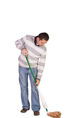 Casual Man in Jeans Cleaning the Floor with a Mop - Isolated Background photo