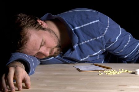 Man Taking Drugs - Man Drug Addiction Problem Stock Photo