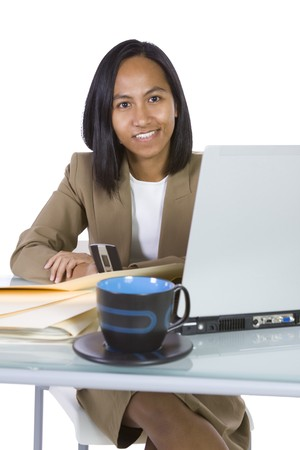 Isolated Businesswoman At Her Desk Working - White Background Stock Photo - 6912504