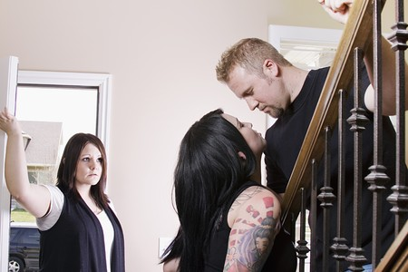 cheating: Wife Coming Home Finding Her Husband Cheating with another Woman