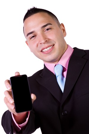 Isolated Businessman Showing His Cell Phone photo