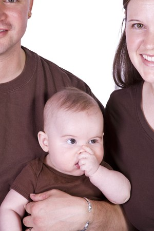 three generation: Happy Family Portrait - Isolated White Background