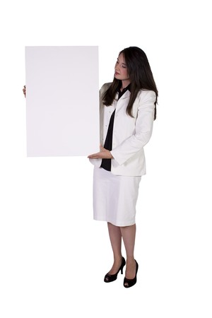 publicize: Woman Holding a Blank Sign on an Isolated Background