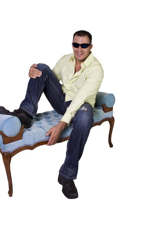 Handsome male model in trendy outfit with sunglasses - Isolated Background photo