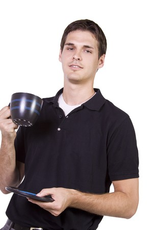 Isolated Young man drinking a cup of coffee Stock Photo - 7998191