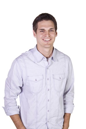 Isolated Shot of a Good Looking young man standing up Stock Photo - 7998199