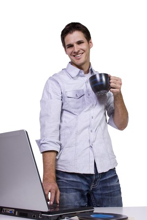 Isoalted Young Businessman drinking coffee and working on laptop Stock Photo - 7998187