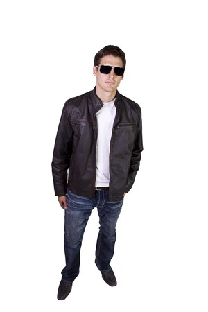 Isolated Sexy Male model with jacket and sunglasses Stock Photo - 7998109