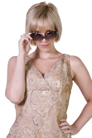 Beautiful Sexy Model posing with Sunglasses - Isolated Background Stock Photo - 7998252
