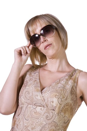 Beautiful Sexy Model posing with Sunglasses - Isolated Background photo