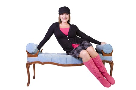 Sexy girl wearing stylish outfit with cap and long boots Stock Photo - 7998102