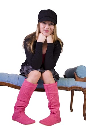 Sexy girl wearing stylish outfit with cap and long boots Stock Photo - 7998158