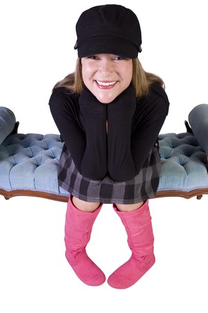 Sexy girl wearing stylish outfit with cap and long boots Stock Photo - 7998164