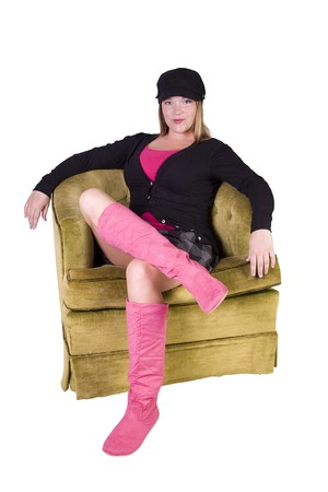 Sexy girl wearing stylish outfit with cap and long boots Stock Photo - 7998116