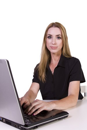 Isolated Businesswoman working on her laptop in the Office Stock Photo - 7998150