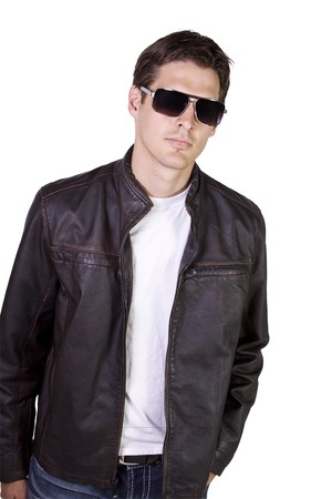 Isolated Sexy Male model with jacket and sunglasses photo
