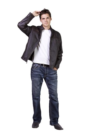 Isolated Sexy Male model with jacket and sunglasses Stock Photo - 8074597