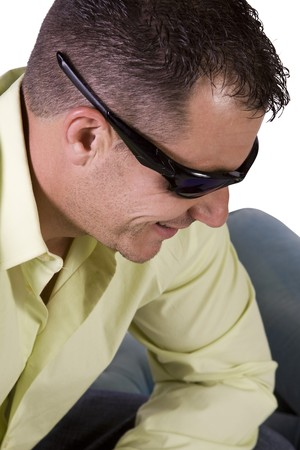 Close up of male model with  sunglasses - Isolated Background Stock Photo - 8074783