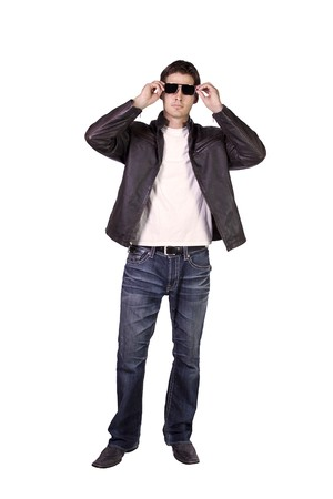 Isolated Sexy Male model with jacket and sunglasses Stock Photo - 8212850