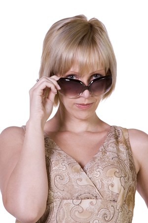 Beautiful Sexy Model posing with Sunglasses - Isolated Background