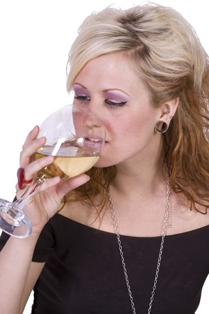 Beautiful Woman Drinking Wine Up on an Isolated Background photo