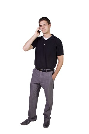 Isolated Young businessman conversing on cell phone Stock Photo - 8153512