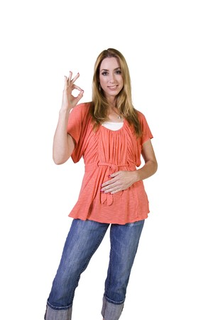 Isolated Shot of a Beautiful Girl Giving the OK Sign Stock Photo - 8153545