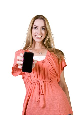 Beautiful Woman Holding a Cell Phone - Isolated Background Stock Photo - 8153592