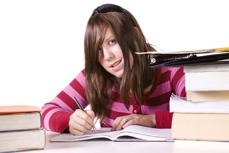 Young high school student studying for exams Stock Photo - 8153621