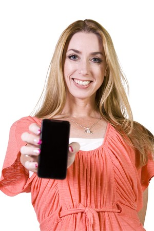 holding close: Beautiful Woman Holding a Cell Phone - Isolated Background