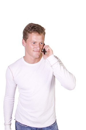 Isolated Young businessman conversing on cell phone Stock Photo - 8212592
