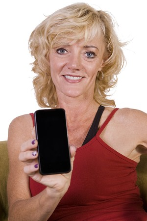 Beautiful Woman Holding a Cell Phone - Isolated Background Stock Photo - 8212678