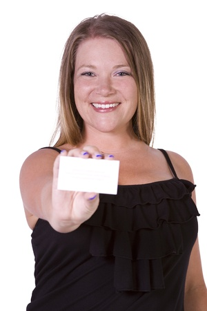 businesscard: Beautiful Girl Holding a Blank Businesscard -  Isolated White Bacground Stock Photo