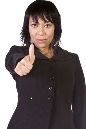 Isolated Shot of a Beautiful Asian - Hispanic Girl Giving the Thumbs Up Stock Photo - 8448446